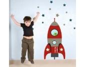 Individuelle Rakete Wandtattoo von Stickerscape - Wandaufkleber (Rot, Großes Größe)