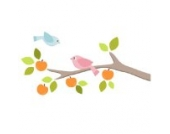 Obstgarten Zweig mit Vögeln (Links) Wandtattoo von Stickerscape - Wandaufkleber (Reguläres Größe)