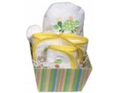 Dee Givens & Co-82510 Raindrops Yellow Turtle Bubbles n Stripes Waschlappen Geschenk-Set - Gelb - 9 x 9 in. in.
