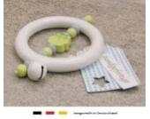 Baby Greifling Rassel Beißring | Holz Lernspielzeug als Geschenk zur Geburt & Taufe | Jungen Motiv Eule in lemon grün