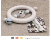 Baby Greifling Rassel Beißring | Holz Lernspielzeug als Geschenk zur Geburt & Taufe | Motiv Fussball in babyblau