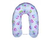 Amilian® XXL Bezug für Stillkissen Baby Lagerungskissen Lang Seitenschläferkissen 170 cm weiß - Eule blau/rosa E2