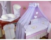 Lux4Kids Kinderbettausstattung Bett Set 135x100 Nestchen Wickelauflage Himmel & Stange Mobile Kopfkissen Spannbettlacken 17 Herz Lila