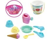 Ecoiffier Strandtasche mit Eimergarnitur (Pink) [Kinderspielzeug]