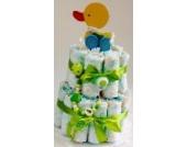 Elfenstall Windeltorte/Pamperstorte mit Spielzeug und Schnullertkette als tolles Geschenk/Geschenkset zur Geburt oder Taufe auf Wunsch mit Name des Babys (Neutral)