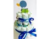 Elfenstall Windeltorte/Pamperstorte mit Spielzeug und Schnullertkette als tolles Geschenk/Geschenkset zur Geburt oder Taufe auf Wunsch mit Name des Babys (Jungen)