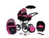 Clamaro 3 in 1 ORION Kombi Kinderwagen mit 14 Räder inkl. Babywanne, Sport Buggyaufsatz, Babyschale (ISOFIX), Gestell in Chrom - 4. Schwarz / Pink