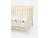 Matratzenrüsche Bettrock Rüsche für Babybett Kinderbett von ca. 120x60 Größe (Muster: Hund mit Knochen_puderblau)