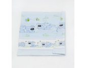 Babybett-Deckenbezug Kinderbett-Deckenbezug Deckenbezug ca. 120x90 für Babybett (Muster: Hund mit Knochen_puderblau)
