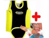 TWF Badeanzug für Babys zwischen 6 und 12 Monaten, Gelb / Schwarz. Neoprenanzug für Schwimmbecken und Strand. Plus 1 Paar Schwimmflügel, 0–12 Monate