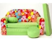 Z19+ Kindersofa Ausklappbar Schlafsofa Couch Sofa Minicouch 3 in 1 Baby Set + Kindersessel und Sitzkissen + Matratze