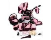 Best For Kids KINDERWAGEN MIT NEUSTER TECHNIKENTWICKLUNG SPORTWAGEN PRINCE TRIO KOMBI KOMBIKINDERWAGEN 3-in-1 - SYSTEM; AUTOSITZ; SCHWENKRÄDER (MEGASET über 25 - Teile; 16 Farben) + GRATIS (Pinky-Pinky)