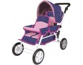 Knorrtoys Geschwisterwagen Big Twin für Puppen (Ocean Pink Dots) [Kinderspielzeug]