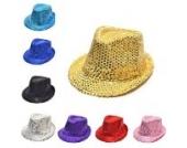 Pailletten Design Kinder FedoraMütze Panama Partei Paillette Sommer Kappe Runde Mütze (schwarz)