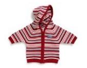 Jacky Baby Strickjacke, mit Reißverschluß und Kapuze Rot mit Weiß gestreift für Mädchen (50)