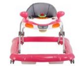 Lauflernhilfe AUTO + Spielcenter (Pink / Weiß / Grau)