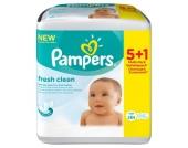 6x64 (384) Stück PAMPERS Feuchttücher Fresh Clean Vorteilspack (5 + 1 GRATIS Packung)