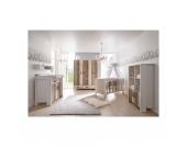 Komplett Kinderzimmer WOODY, 3-tlg. (Kinderbett, Umbauseiten, Wickelkommode und 3-türiger Kleiderschrank) Gr. 70 x 140