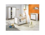 Komplett Kinderzimmer MARLENE, 3-tlg. (Kinderbett, Wickelkommode und 3-türiger Kleiderschrank), Wenge Lehm/Weiß Gr. 70 x 140