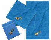 Frottierset, 2 Handtücher & 1 Waschlappen, Bagger, blau