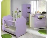 Babyzimmer komplett Altea weiß lila mit Wickelfläche