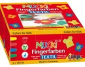 Mucki Stoff-Fingerfarbe, 4 x 150 ml