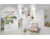 Komplett Kinderzimmer CAMBINO CITY, 3-tlg. (Kinderbett, Wickelkommode breit und 3-türiger Kleiderschrank), Weiß & farbige Griffhinterlegung Gr. 70 x 140