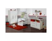 Komplett Kinderzimmer MAREN, 3-tlg. (Kinderbett, Wickelkommode breit und 3-türiger Kleiderschrank), Weiß Gr. 70 x 140