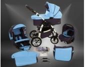 Milk Rock Baby Macano S Kinderwagen mit 3 Gestellfarben Safety-Set (Autositz & ISOFIX Basis, Regenschutz, Moskitonetz, Schwenkräder)