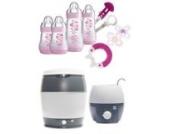 MAM Set - Startset - Babykostwärmer Sterilisier Flaschenset Premium groß - Rosa - + gratis Schmusetuch Löwe Leo