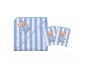Set Kapuzenbadetuch mit 2 Waschlappen, Teddy Ringel, hellblau, 80 x 80 cm