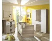 Babyzimmer Komplettset / Kinderzimmer komplett Set WIKI 6 in Eiche Sonoma Weiß