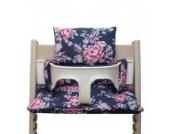 Blausberg Baby - Sitzkissen Kissen Polster Set für Stokke Tripp Trapp Hochstuhl- Einheitsgröße, Happy Flower Blau (Blumenmuster)