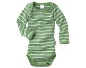 wellyou Baby Body Langarm grün-weiß geringelt