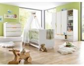 Komplett Kinderzimmer FRESH, 3-tlg. (Kinderbett, breite Wickelkommode und 3-türiger Kleiderschrank), Weiß/Bunt Gr. 70 x 140