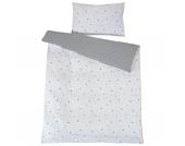 Kinderbettwäsche Sternchen, grau, 100 x 135 cm