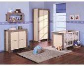 Babyzimmer Kinderzimmer NEW GENERATION Eiche Grau&Creme, Babymöbel Set 4tlg komplett Kleiderschrank 2-türig Babybett Wickelkommode Wandregal