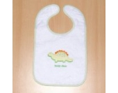 Lätzchen mit Klettverschluss & Folie Stickerei Weiß Motiv Dino