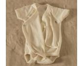 Cosilana Baby-Wickelbody kurzarm Wolle/Seide mit Feinwaschmittel von Wiki-Naturwaren, 62/68, (01) natur