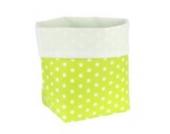Sugarapple Utensilo Stoff Aufbewahrungsbox aus Baumwolle 19 x 13,5 x 13,5 cm, Stoffbox fürs Bad, als Wickeltisch Organizer oder Windelspender Korb, Punkte apfelgrün