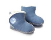 Inch Blue Mädchen/Jungen Schuhe für den Kinderwagen aus luxuriösem Leder - Cwtch Schaffell-stiefelchen - Blau