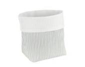 Sugarapple Utensilo Stoff Aufbewahrungsbox aus Baumwolle 19 x 13,5 x 13,5 cm, Stoffbox fürs Bad, als Wickeltisch Organizer oder Windelspender Korb, Streifen grau