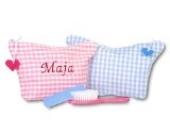 Kinder-Kulturtasche - Farbe Karo Rot - Schriftzug Marineblau