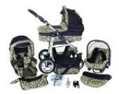 Chilly Kids Dino 3 in 1 Kinderwagen Set (Autosit & Adapter, Regenschutz, Moskitonetz, Schwenkräder) 25 Schwarz & Leopard