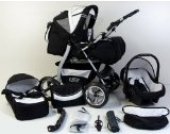 Clamaro 'VIP' 3in1 Premium Kombikinderwagen System, Kinderwagen Kombi mit Babywanne, Buggy und Auto Babyschale Gruppe 0+ (0-13 kg), Felge: GRAU (Hartgummi Reifen), Design: 28. Grün/Schwarz
