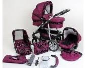 Clamaro CORAL 2017 Kinderwagen 3 in 1 Kombi System (24 Farben wählbar) mit Babywanne Gruppe 0+ (0-13 kg), Sport Buggy und Auto Babyschale Aufsatz (ISOFIX), Alu-Stahl Gestell mit Luftreifen und einstellbarer Fahwerk Federung, vorne mit 360° Schwenkräder