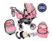 Baby Sportive X2, 3 in 1 Kombikinderwagen set - incl. Kinderwagen mit Zubehör, Babyschale und Sportwagen Aufsatz. System mit Schwenkräder. Reisesystem Farbe: Rosa und Leopard