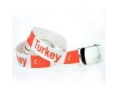 Gürtel Hosengürtel Fanartikel Stoff Gürtel Türkei Turkey Türkiye 110 cm