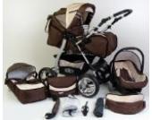 3 in 1 Kombikinderwagen Komplettset VIP - inkl. Kinderwagen, Babyschale und Sportwagen Aufsatz - 2. ALU Luft Bereifung zum aufpumpen - 38. Braun-Cream