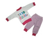 Baby Schlafanzug 2 teilig Weiß/Pink Größe 104 Too Cutie